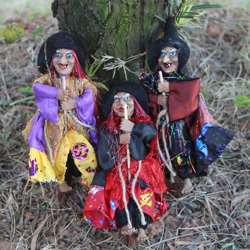 Witch Ornaments Broom Haunted House Decoration Props - 3 models