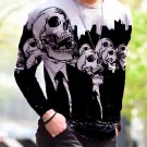 New Halloween Print Simple Long-Sleeved White T Shirt - several sizes