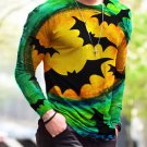 New Halloween Print Simple Long-Sleeved Green T Shirt - several sizes