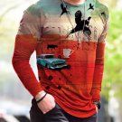 New Halloween Print Simple Long-Sleeved Red T Shirt - several sizes