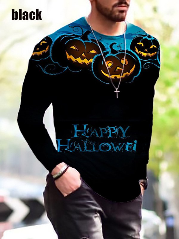 New Halloween Print Simple Long-Sleeved Black T Shirt - several sizes