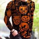 New Halloween Print Simple Long-Sleeved Orange T Shirt - several sizes