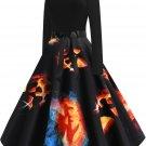 Halloween Hepburn Style Retro Print Big Skirt 2 - several sizes
