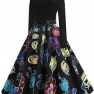 Halloween Hepburn Style Retro Print Big Skirt 7 - several sizes