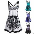 Fashion Halloween Print Sleeveless Dress - Black model several sizes