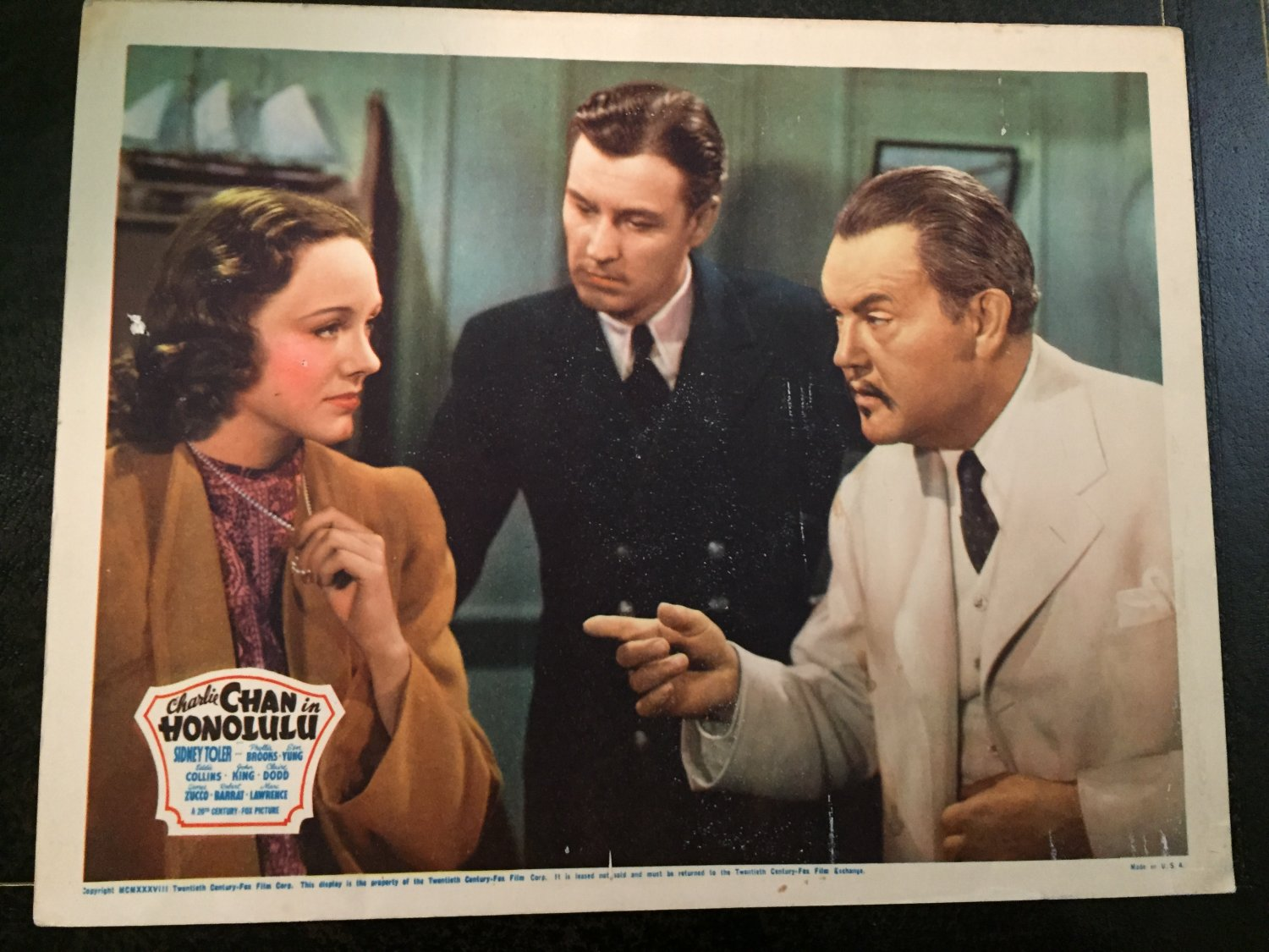 CHARLIE CHAN in HONOLULU LOBBY CARD, 20TH CENTURY FOX 1938, SIDNEY TOLER