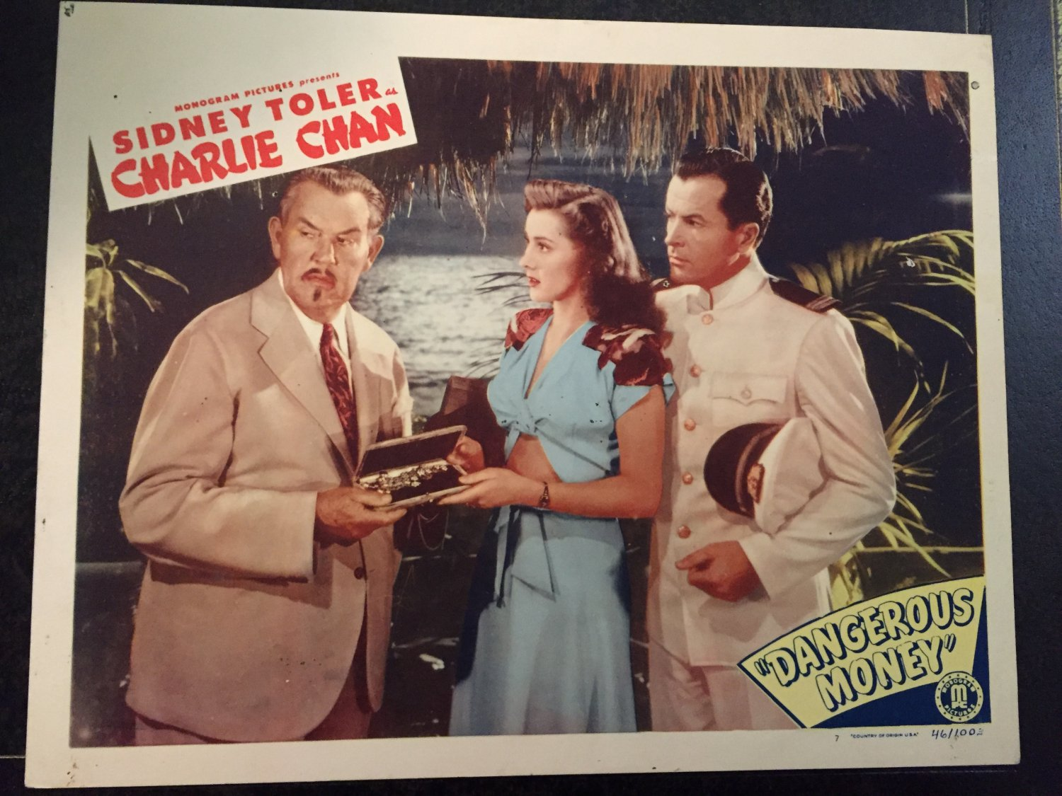 "CHARLIE CHAN ""DANGEROUS MONEY"" LOBBY CARD, MONOGRAM PICTURES 1946, SIDNEY TOLER"