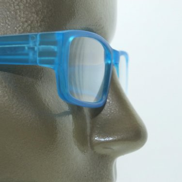 Reading Glasses Low Rise Rectangle Spring Hinge Frame Frosted Matte Aqua +2.00
