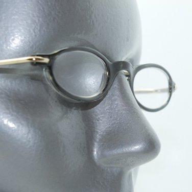 Super Petite Oval Smoky Eye Gray Frame Reading Glasses +2.00 Lens Metal Trim