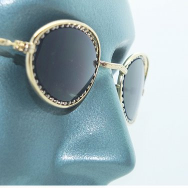 Petite Oval Beaded Frame Sunglasses Sun Shades Gold on Gold Metal