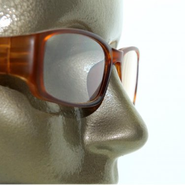 Reading Glasses Sleek Rectangle Spring Hinge Frame Frosted Matte Amber +2.75