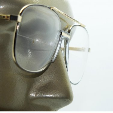 Double Bridge Aviator Black Gold Classic Halfway Bifocal Reading Glasses +1.50