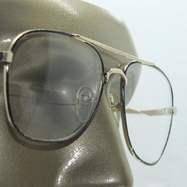 Wide Aviator Black Gold Metal Frame Straight Line Bifocal Reading Glasses +1.50