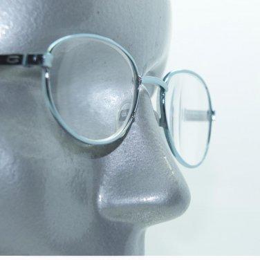 Rock Star Aqua Blue Metal Frame Classic Petite Oval Reading Glasses +3.50 Lens