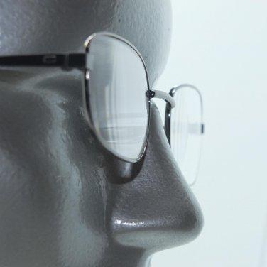 Small Rectangle Classic Reading Glasses Shiny Gray Metal Frame +1.50 Lens
