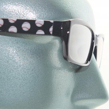Reading Glasses Baseball Fan Sports Ball Classic Black Frame +1.00 Lens Strength