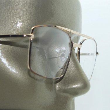 Bifocal Reading Glasses Square Aviator 80's Style Gold Black Frame +1.00 Lens