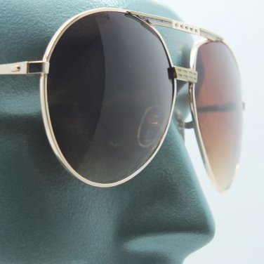 Large Brown Lens Double Bridge Big All Gold Frame Aviator Sunglasses Sun Shades