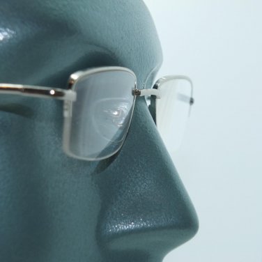 Silver Metal 1/2 Frame 1/2 Clear Line Office Reading Glasses Spring Hinge +3.00