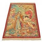 ISMAIL  art feat Persian silk carpet/rug qom handmade 100% pure silk 600kpsi