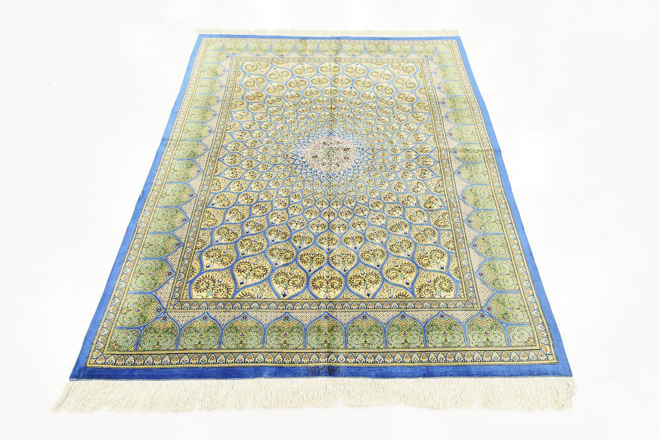 GONBADI ART FEAT Persian silk carpet/rug qom handmade 100% pure silk 576/kpsi