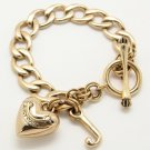 New Juicy Couture Chain Linked Charm Bracelet w/Heart Pendant