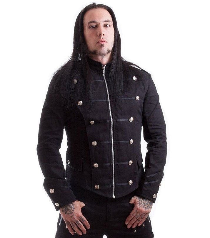 New Men's Handmade Black Military Jacket Goth Punk Style 100% Cotton