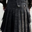 Black Handmade Denim Utility Kilt for men with Free DHL Shipping