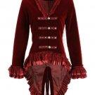 New Women Velvet Victorian Steampunk Gothic Dressage Tailcoat Corset Back Jacket