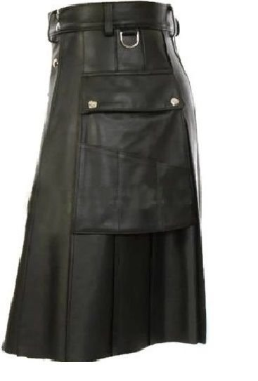 New Stylish Pockets Real Leather Kilt Made for Men