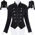 Ladies Lady Black Steampunk Emo MCR Punk Gothic Military Coat Jacket Parade Tops
