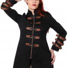 Women Black Copper Victorian Steampunk Jacket Coat Goth Punk Emo