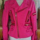 Goth Jacket Style Hot Pink Biker Zips Straps Crosses  Size Medium