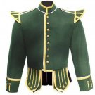 (Replica) HandMade Military Pipper Drummer Doublet Tunic Jacket 100% Green Wool