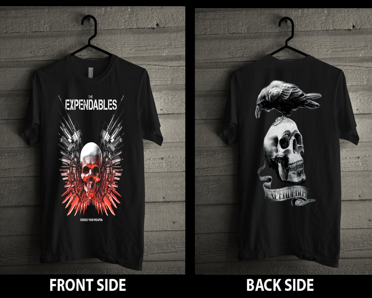THE EXPENDABLES Black T-Shirt av Size S-M-L-XL New Cotton Tshirt