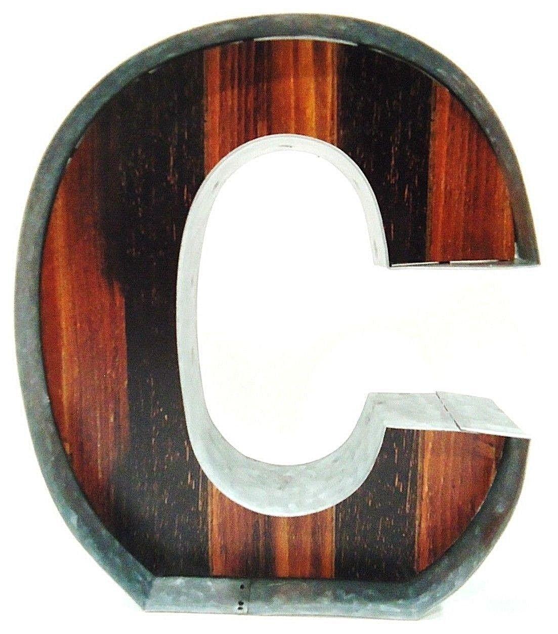METAL ART - GALVANIZED - STEEL - WOOD - LETTER - C - MODERN - INDUSTRIAL - SIGN
