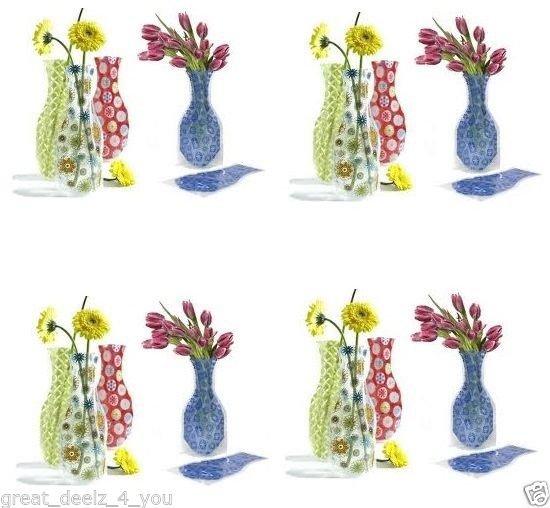 DECORATIVE - PLASTIC - FLOWER - VASE - REUSABLE - COLLAPSIBLE - NEW - FLORAL