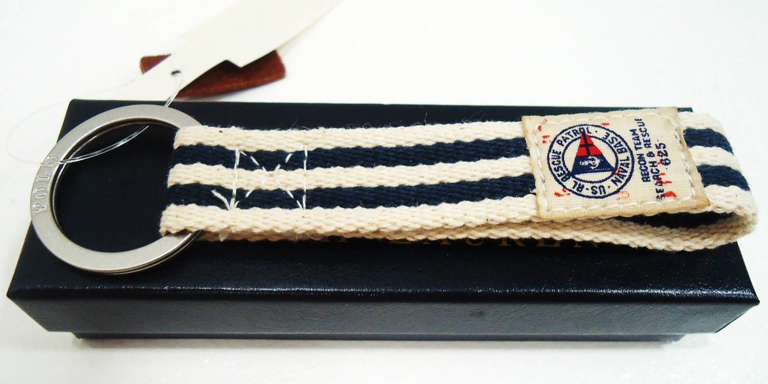 RALPH LAUREN - POLO - MILITARY - NAUTICAL - NAVY - YACHT - KEY CHAIN - FOB - NEW
