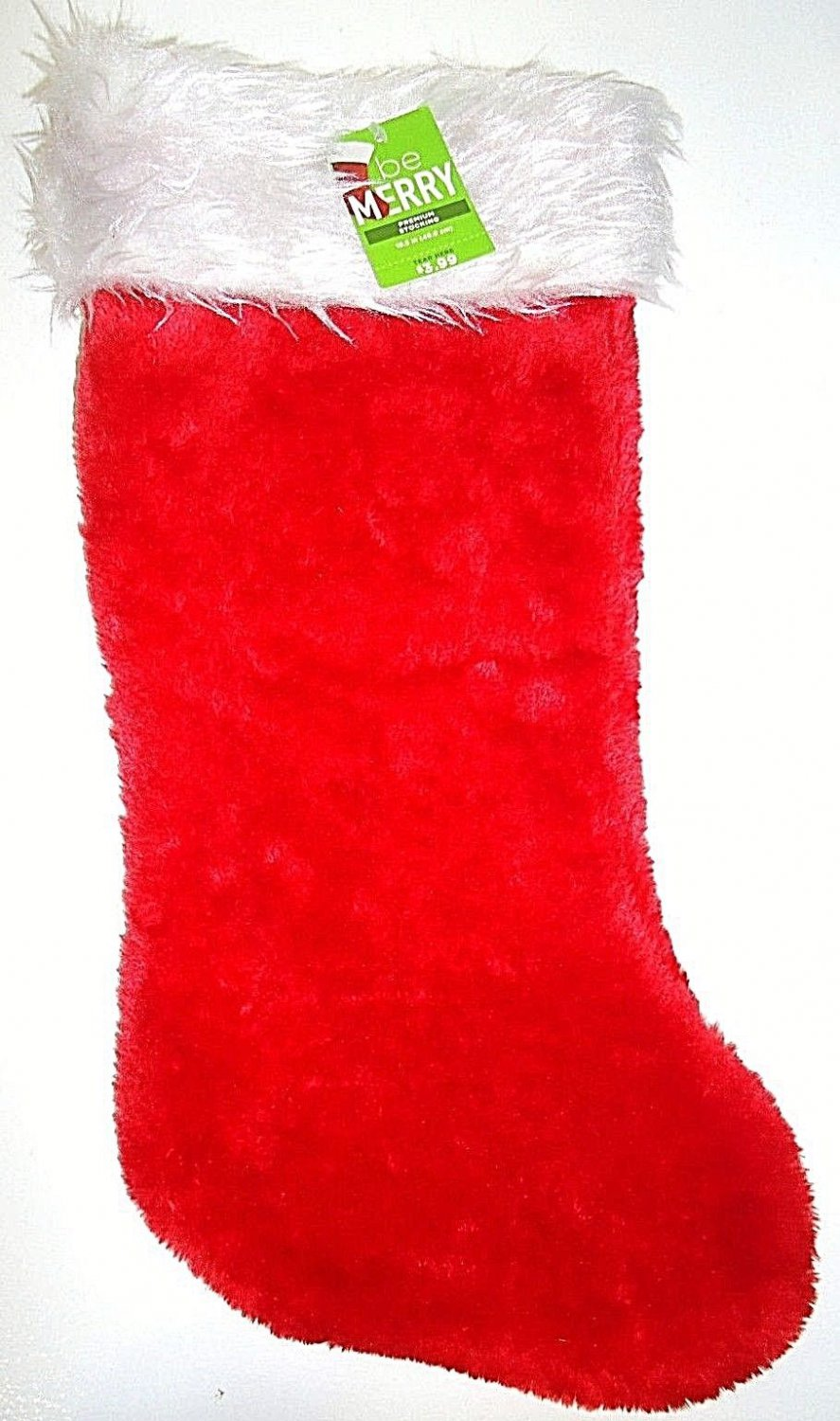 "HOME ELEMENTS - 19"" - CHRISTMAS - HOLIDAY - PLUSH - RED - WHITE - STOCKING - NEW"