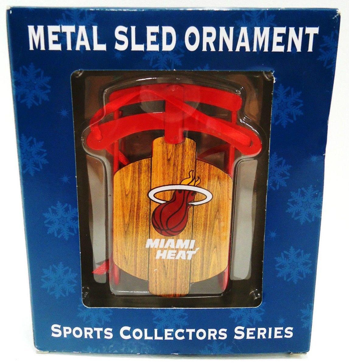 NBA - MIAMI HEAT - BASKETBALL - RED - CHRISTMAS - SLED - ORNAMENT - BRAND NEW