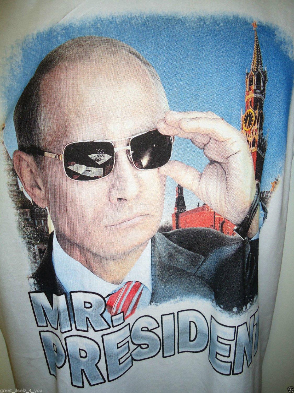 VLADIMIR - PUTIN - RUSSIA - MR. PRESIDENT - SMALL - WHITE - T-SHIRT - NEW - KGB