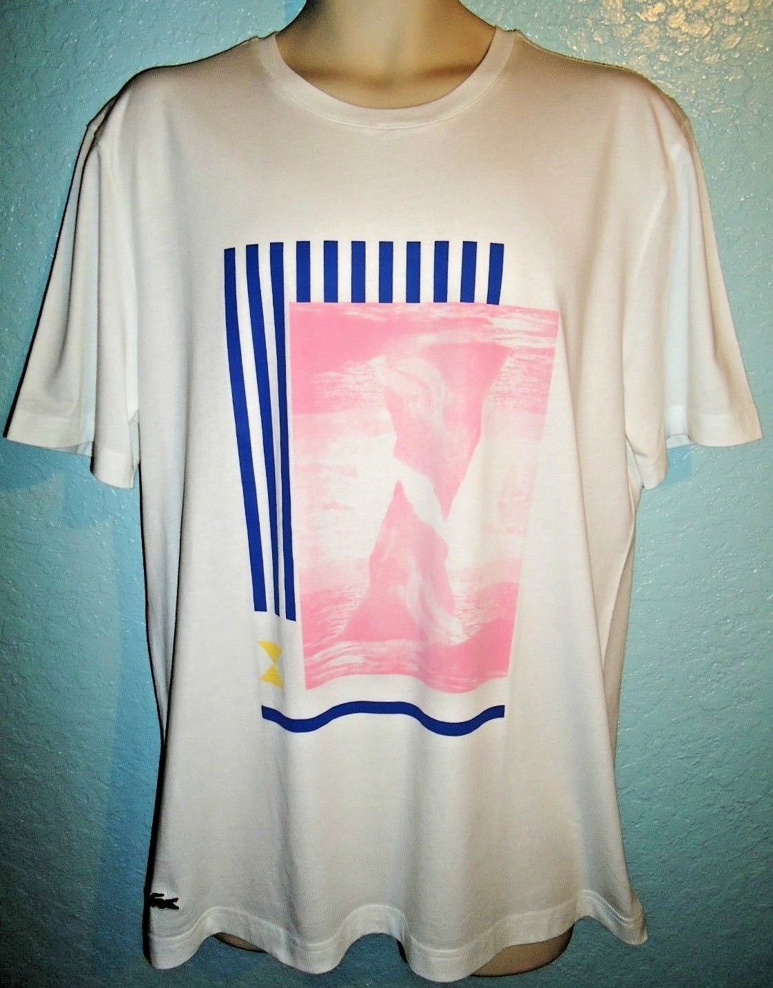 LACOSTE - LIVE - SLIM FIT - CYCLONE - XL - WHITE - PINK - T-SHIRT - NEW - TEE