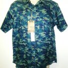 DANIEL CREMIEUX - SLIM FIT - CAMOUFLAGE - LINEN - MILITARY - SHIRT - NEW - LARGE