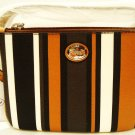 COACH - PEYTON - STRIPED - BLACK - CARAMEL - WHITE - WRISTLET - PURSE - NEW