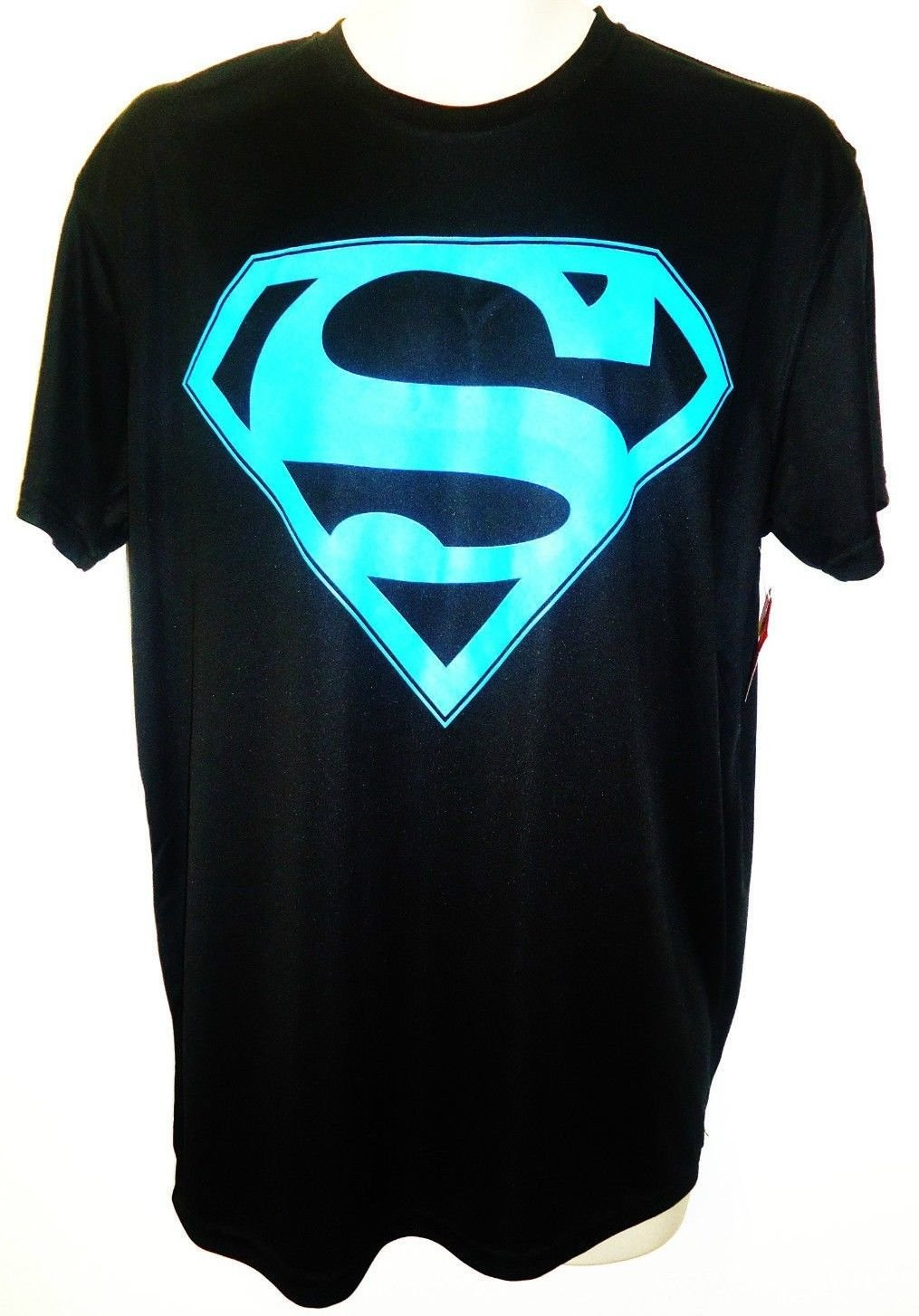DC COMICS - SUPERMAN - BLACK - BLUE - MUSCLE - TEE - LARGE - BRAND NEW - BATMAN