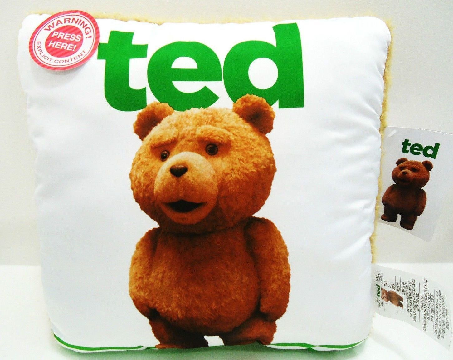 """TED - TALKING - MOVIE - PILLOW - WHITE - GREEN - NEW - 14"""" X 14"""" - DVD - TED 2"""