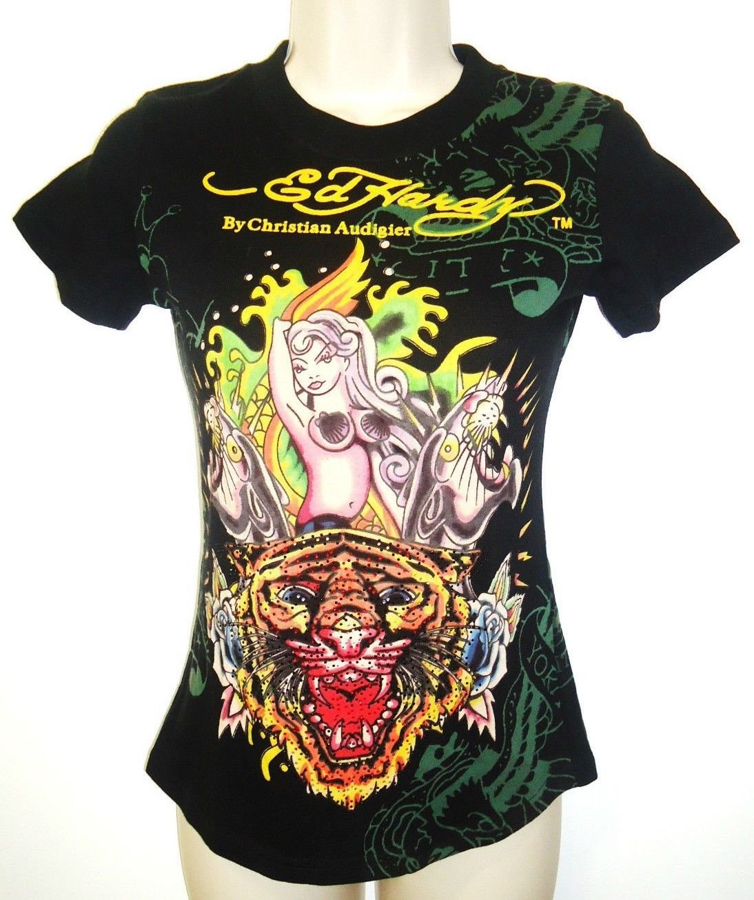 ED HARDY - CHRISTIAN AUDIGIER - MERMAID - PANTHER - GLITTER - BLACK - TEE - NEW