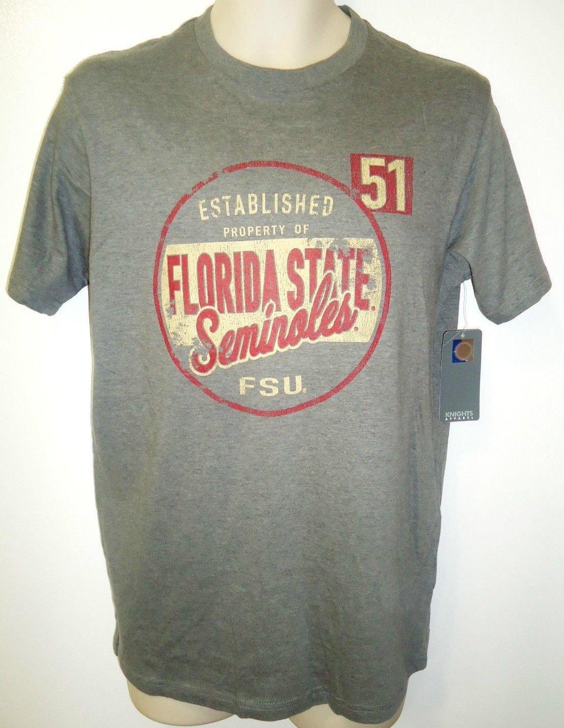 FLORIDA STATE - SEMINOLES - NCAA - FOOTBALL - T-SHIRT - NEW - MEDIUM - GRAY