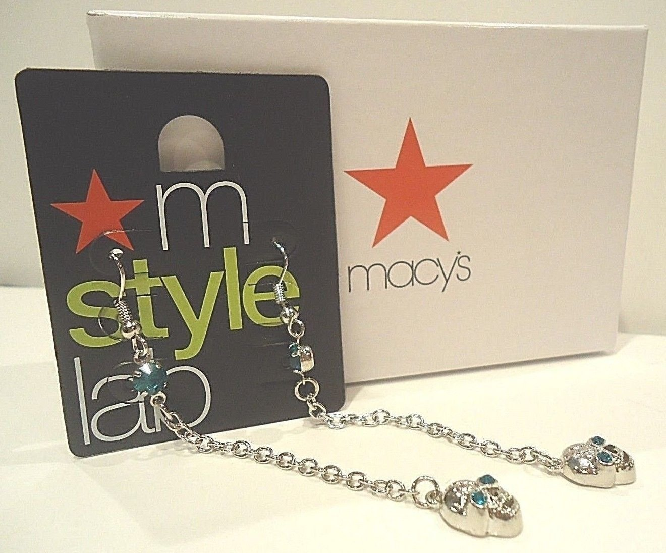 MACY'S - M STYLE LAB - BLUE - SILVER - SKULL - FASHION - EARRINGS - NEW - NWT