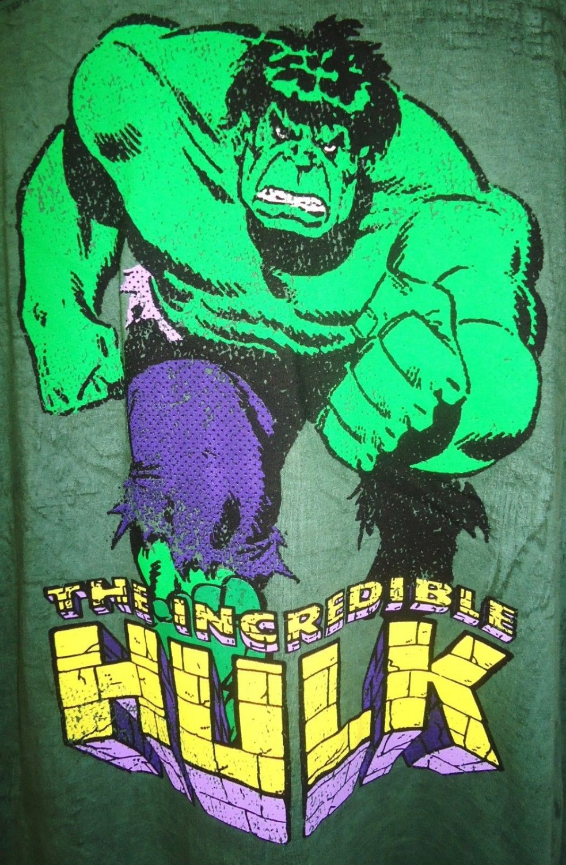 MARVEL - THE INCREDIBLE HULK - L - GREEN - BLACK - RETRO - TEE - NEW - AVENGERS